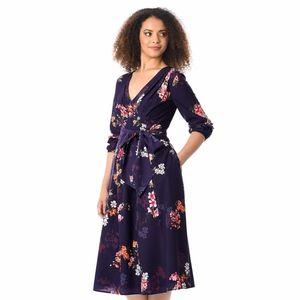 EShakti Plum Floral Midi Dress